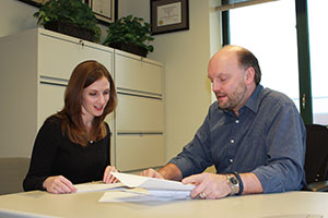 Pictured L to R: Margaret Luciano, a 2015 Ph.D. candidate and Professor John Mathieu