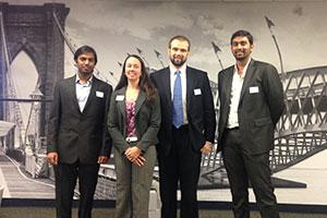 Pictured L to R: Priceline.com Data Challenge winners Dilip Sagar Manjunath, Jennifer Eigo, Daniel Silvis, and Chandra Karri.