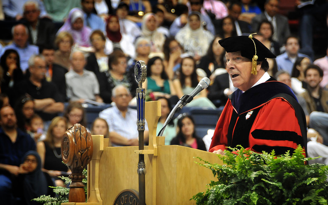 Dean John A. Elliott addresses the Class of 2015.