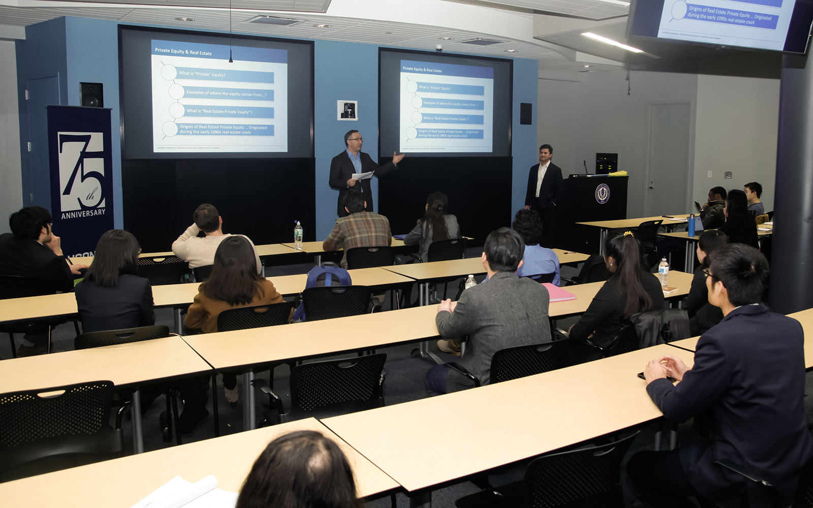John McCarthy '83, managing director, Global Capital Raising, and Chintan Bhat '07 (ENG), vice president of portfolio management, shared their career experiences at Starwood Capital Group to the Finance Club at the Stamford campus on February 25th. (Ian Hollis/UConn photo)