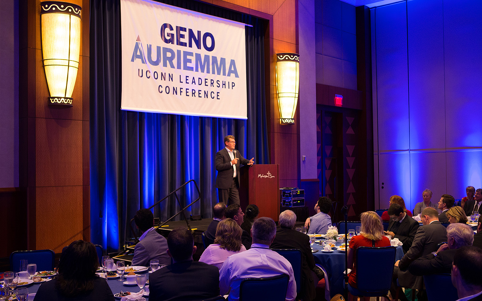 "Coach Geno Auriemma talks about ""Changing the Game"" at the last Geno Auriemma UConn Leadership Conference, in 2014. (Steve Slade/UConn)"