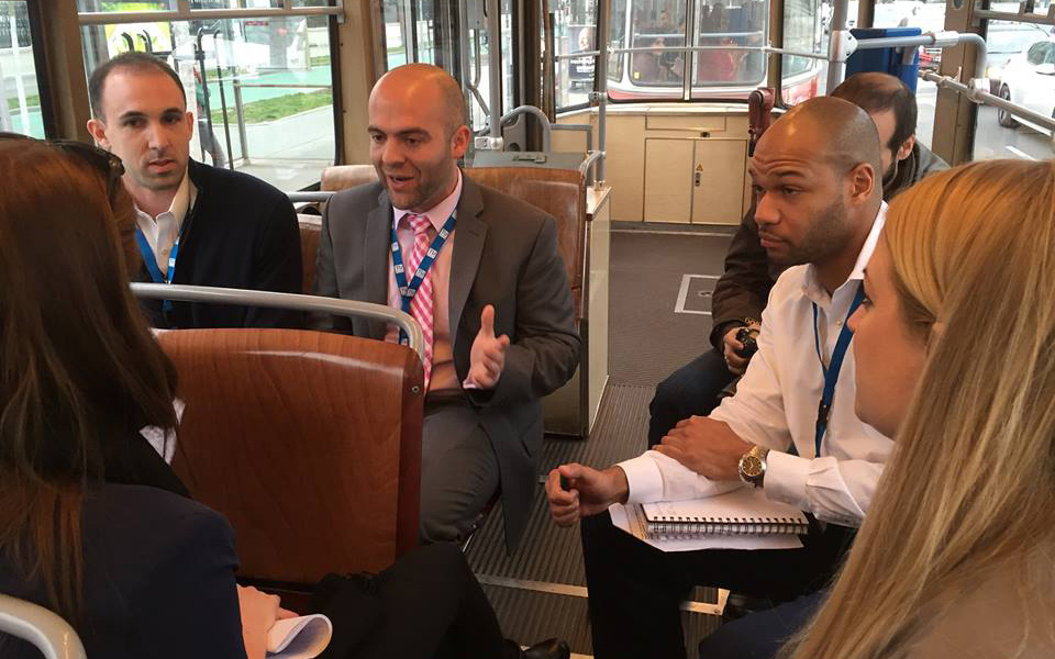 In a twist to The Negotiation Challenge, preparation and negotiations were held on a tram in Vienna, Austria (Nora Madjar/UConn School of Business)
