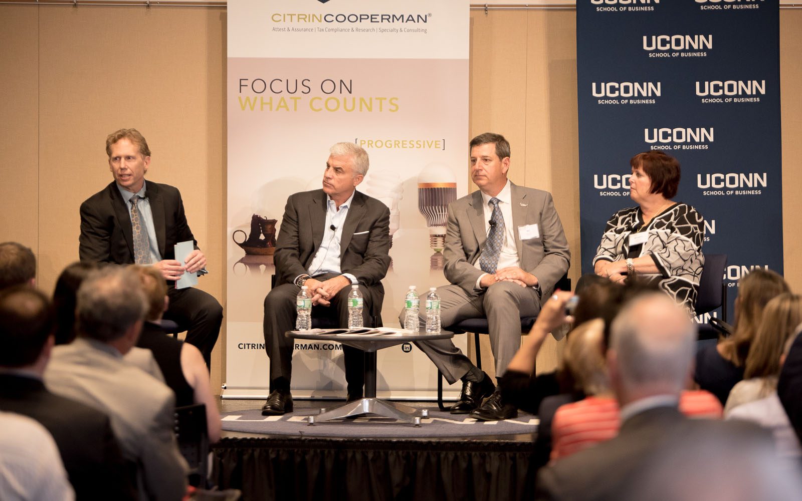 "Left to right, Mark L. Fagan, Scott Gillis, Bill Simon and Margaret Keane discuss business values at the ""CEO Evolution."" (Nathan Oldham/UConn School of Business)"