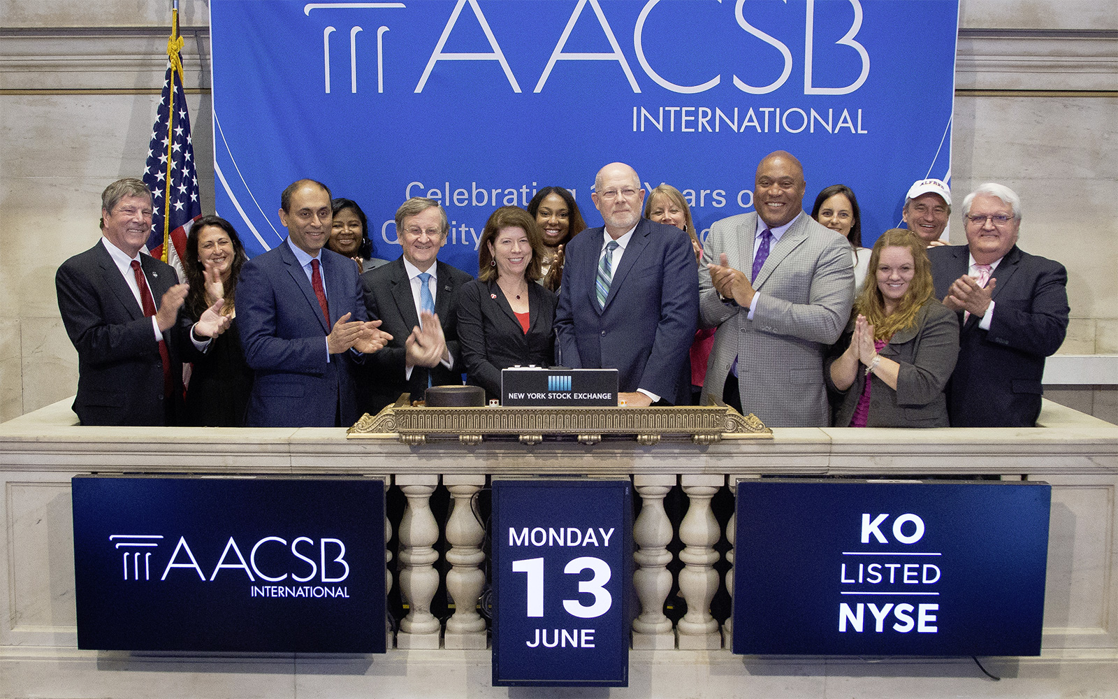 AACSB board member, John A. Elliott, dean of the UConn School of Business rings the closing bell of the New York Stock Exchange
