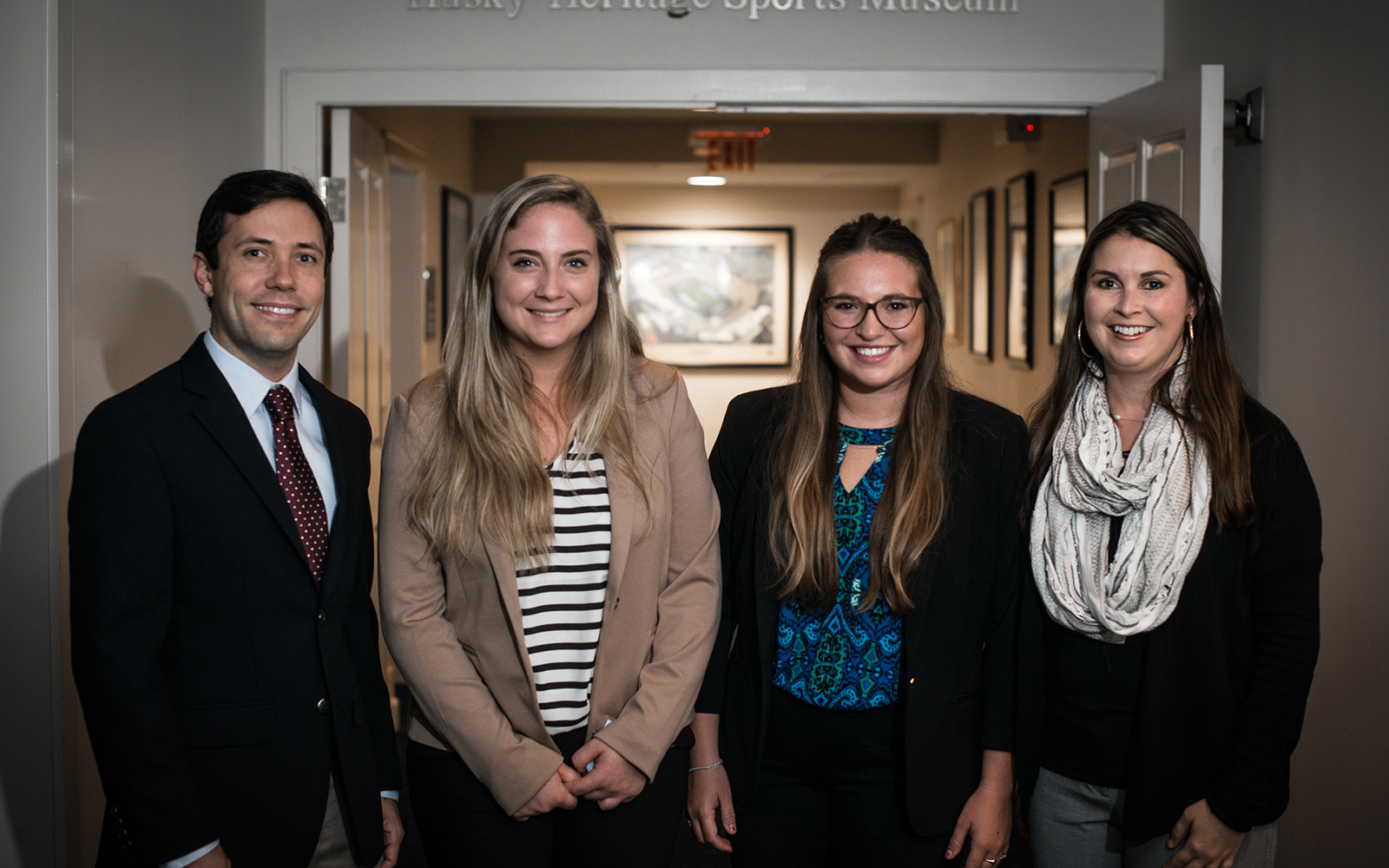 The creators of LambdaVision with two undergraduate student interns who helped represent the company during the CCEI fellowship and again at the Wolff competition. From left, Dr. Jordan Greco '10 (CLAS), '15 Ph.D., Molly Zgoda '17 (CLAS), Audrey Gallo '17 (CLAS), and Dr. Nicole Wagner '07 (CLAS), '13 Ph.D. (Nathan Oldham/UConn School of Business)
