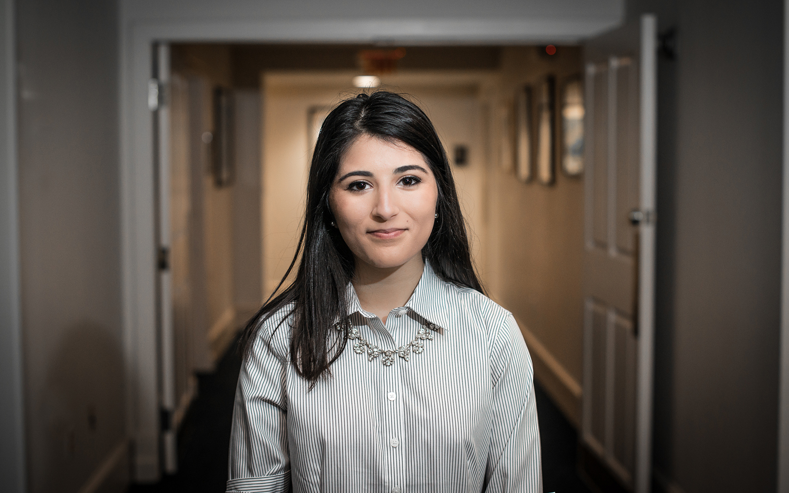Elizabeth Pouya '17 (CLAS) founder of ProtectiScope, tied as winner of the Wolff New Venture Competition on Sept 29. (Nathan Oldham/UConn School of Business)