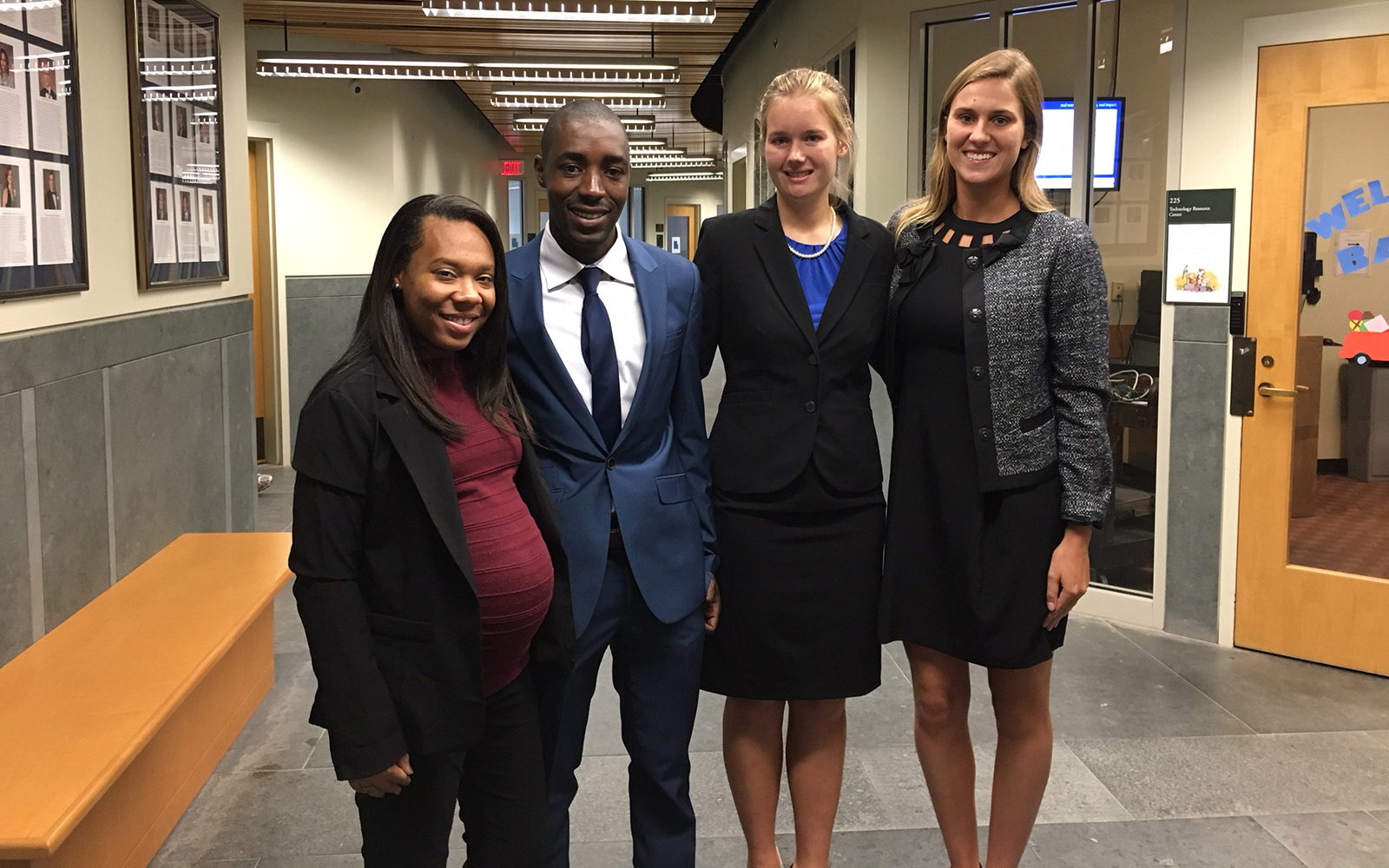 From left: Alexis Flowers, Southern University of Baton Rouge; Tshepo Makobela, University of Johannesburg; Alison Witschonke, University of Vermont; and Laura Van Eeckhoudt, Belmont University. (UConn School of Business)