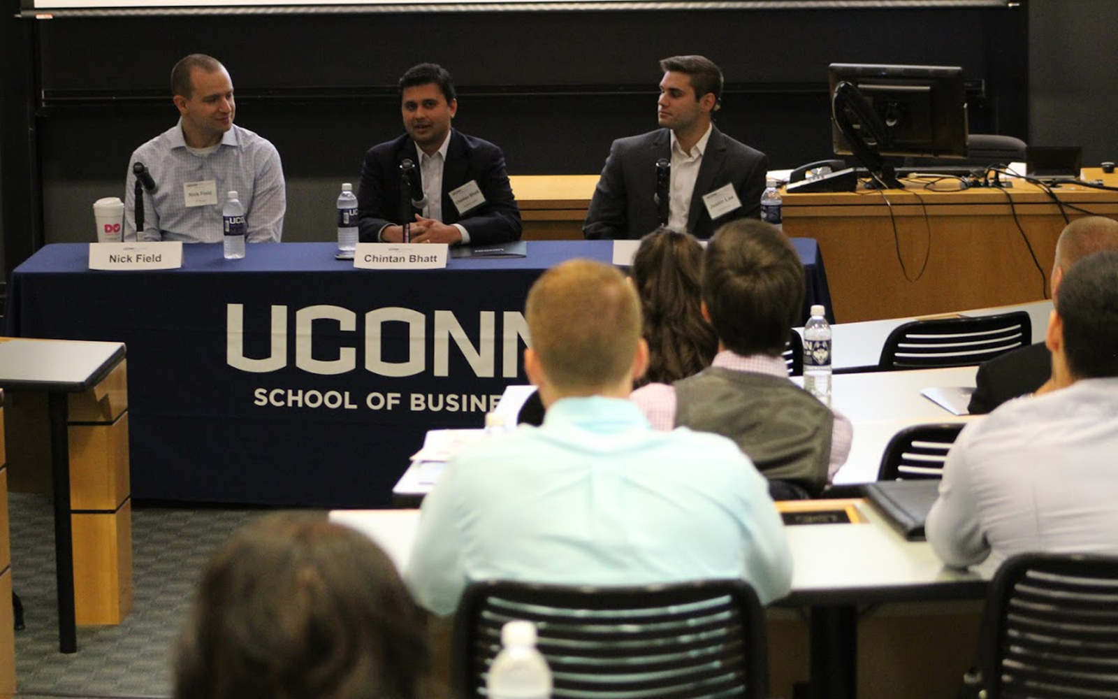 Careers in investments, asset management, banking and prestigious Wall Street opportunities were the focus of the inaugural Finance Conference at the School of Business. (Joshua Weist/UConn School of Business)