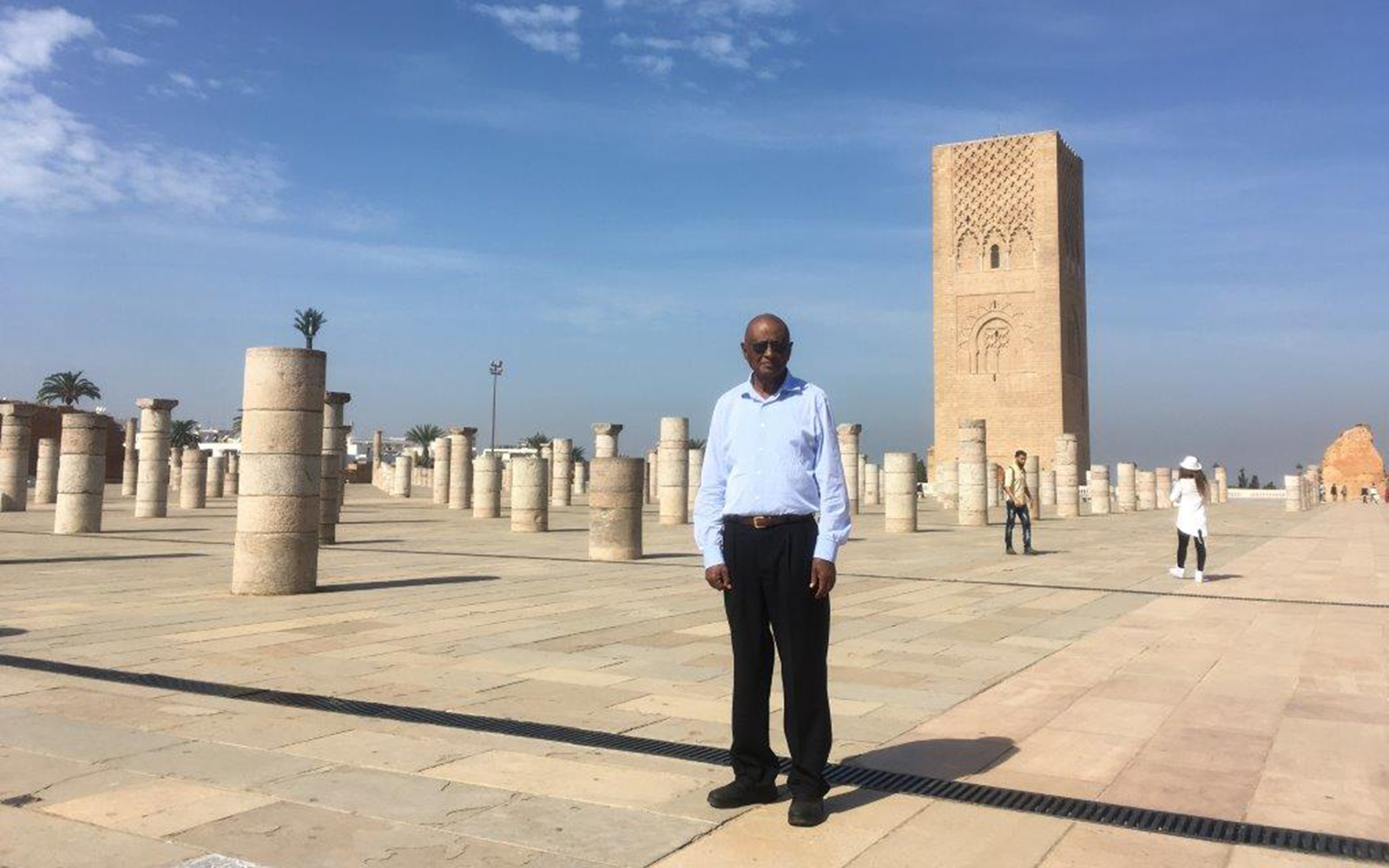 Pictured above, Hussein stands before the Mausoleum of Mohammed V, one of the top tourist attractions in the city of Rabat, both because of its architectural design and its tribute to a famous ruler. (Mo Hussein/UConn School of Business)
