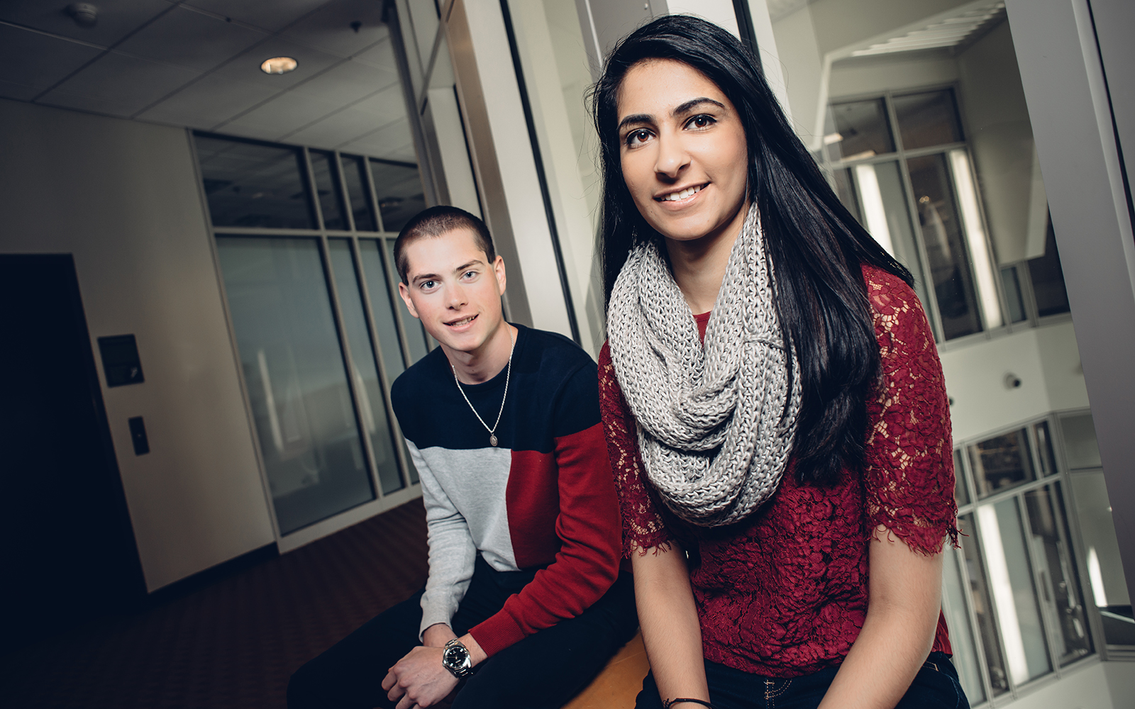 Jeffrey Noonan, left, and Kavisha Thakkar have been selected as two of UConn's Leadership Legacy scholars, an honor bestowed on the University's most exceptional students, who have demonstrated leadership, personal accomplishment and academic excellence. (Nathan Oldham/UConn School of Business)