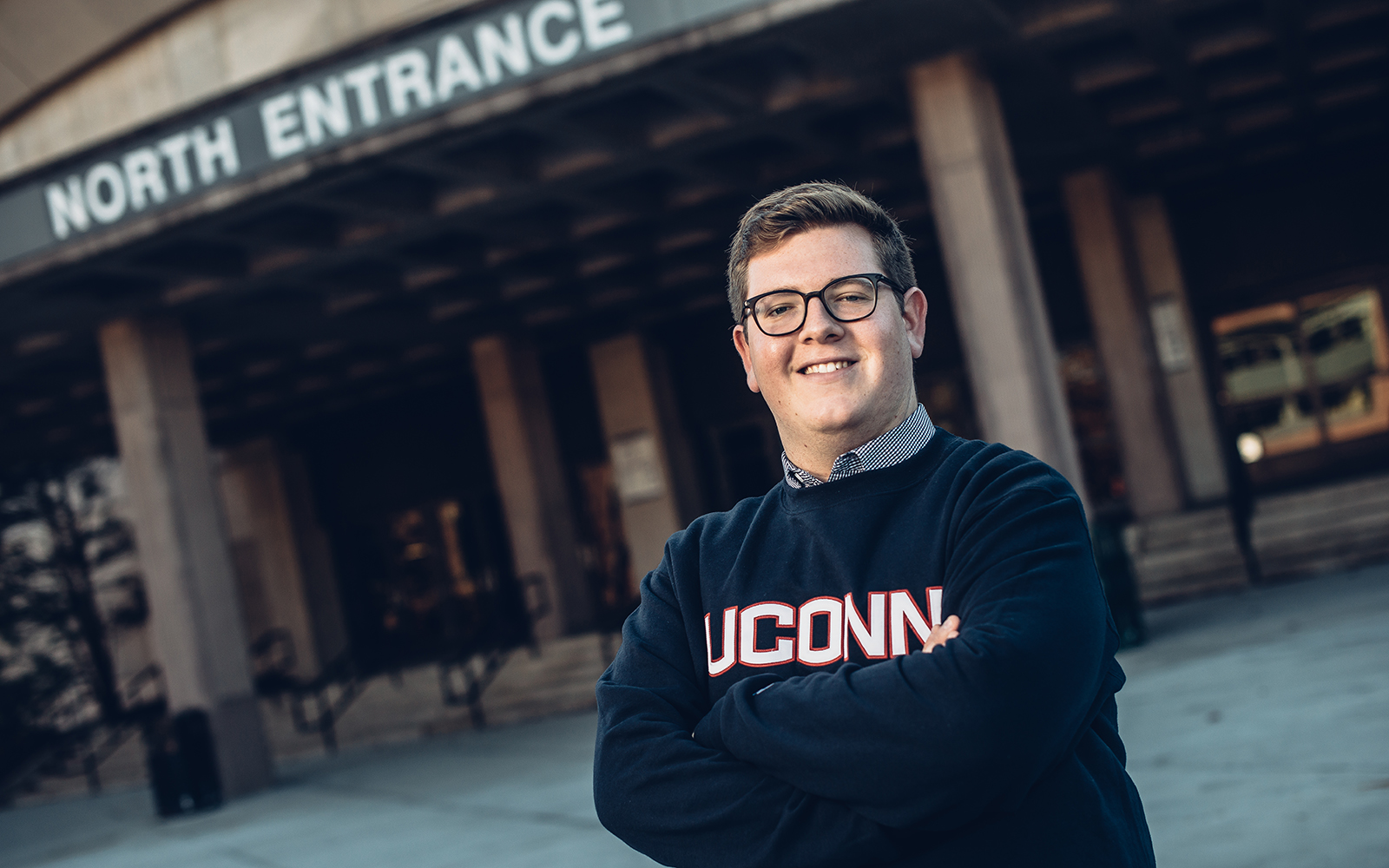 When senior Andrew Carroll graduates in May, he will have completed a triple major, and his resume will include a semester of education abroad and additional world travel that gave him a new, bolder perspective. (Nathan Oldham/UConn School of Business)