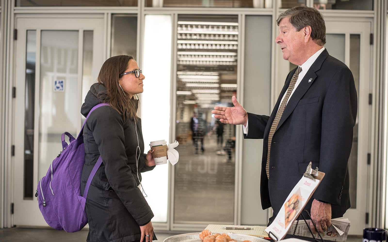 Students stopped for a meet and greet with UConn Business School Dean John Elliott on Tuesday morning. (Nathan Oldham/UConn School of Business)