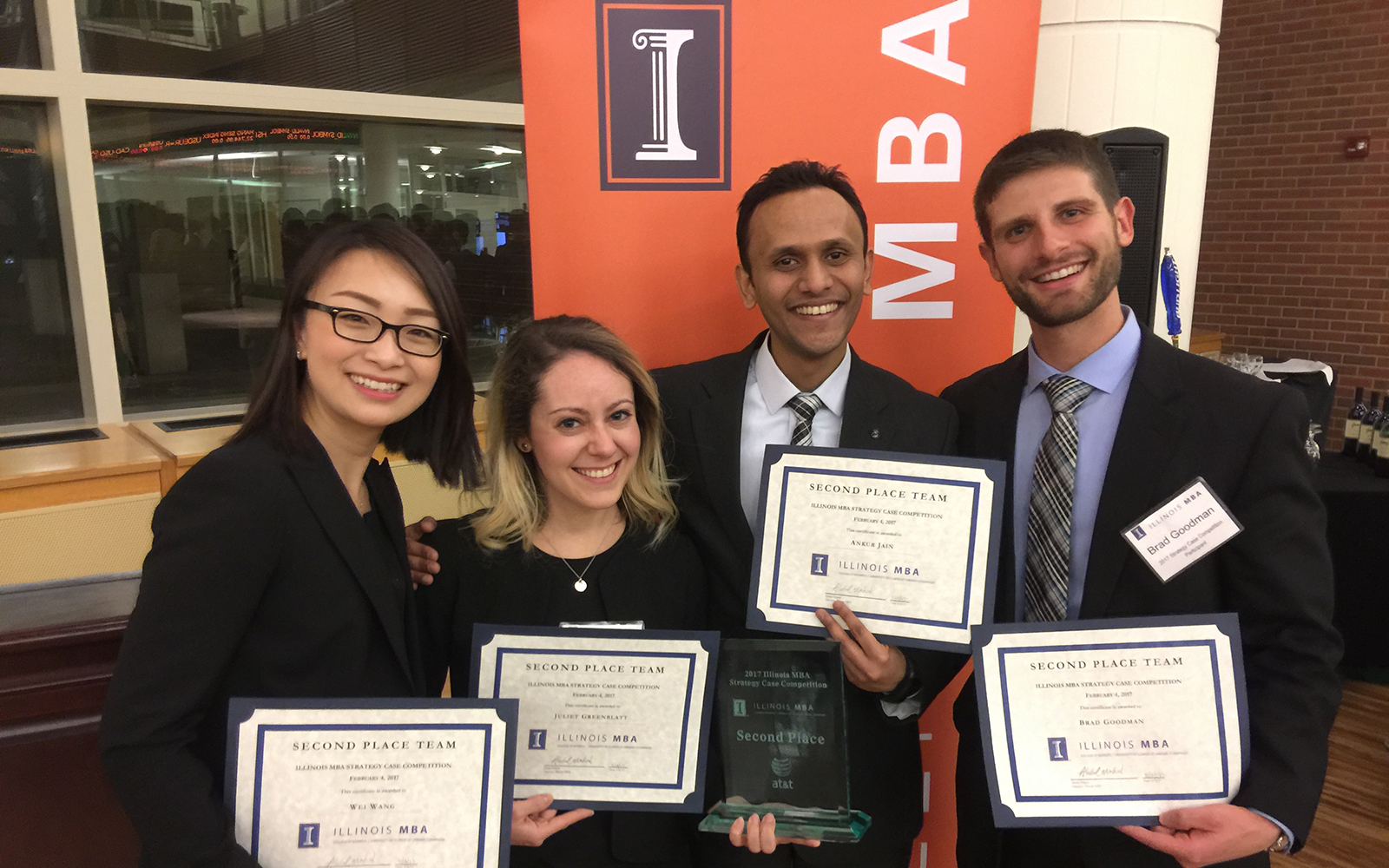 Pictured from left: Wei Wang '17, Juliet Greenblatt '18, Ankur Jain '18, and Brad Goodman '17 (UConn School of Business)