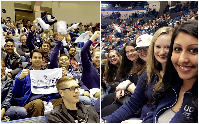 MBA students joined HYPE (Hartford Young Professionals and Entrepreneurs) to cheer on the men's hockey team.