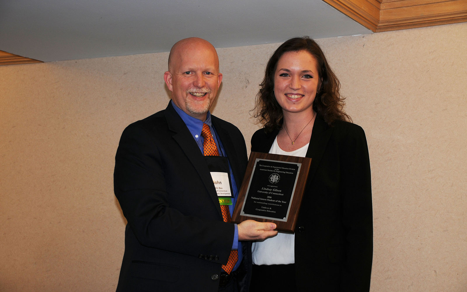 Lindsey Gilson (right) poses with UConn Engineering Career Consultant John Bau at the American Society for Engineering Education Award Ceremony. Bau nominated Gilson for the intern award. (Craig Gunn/ Cooperative and Experiential Education Division of the American Society for Engineering Education.)