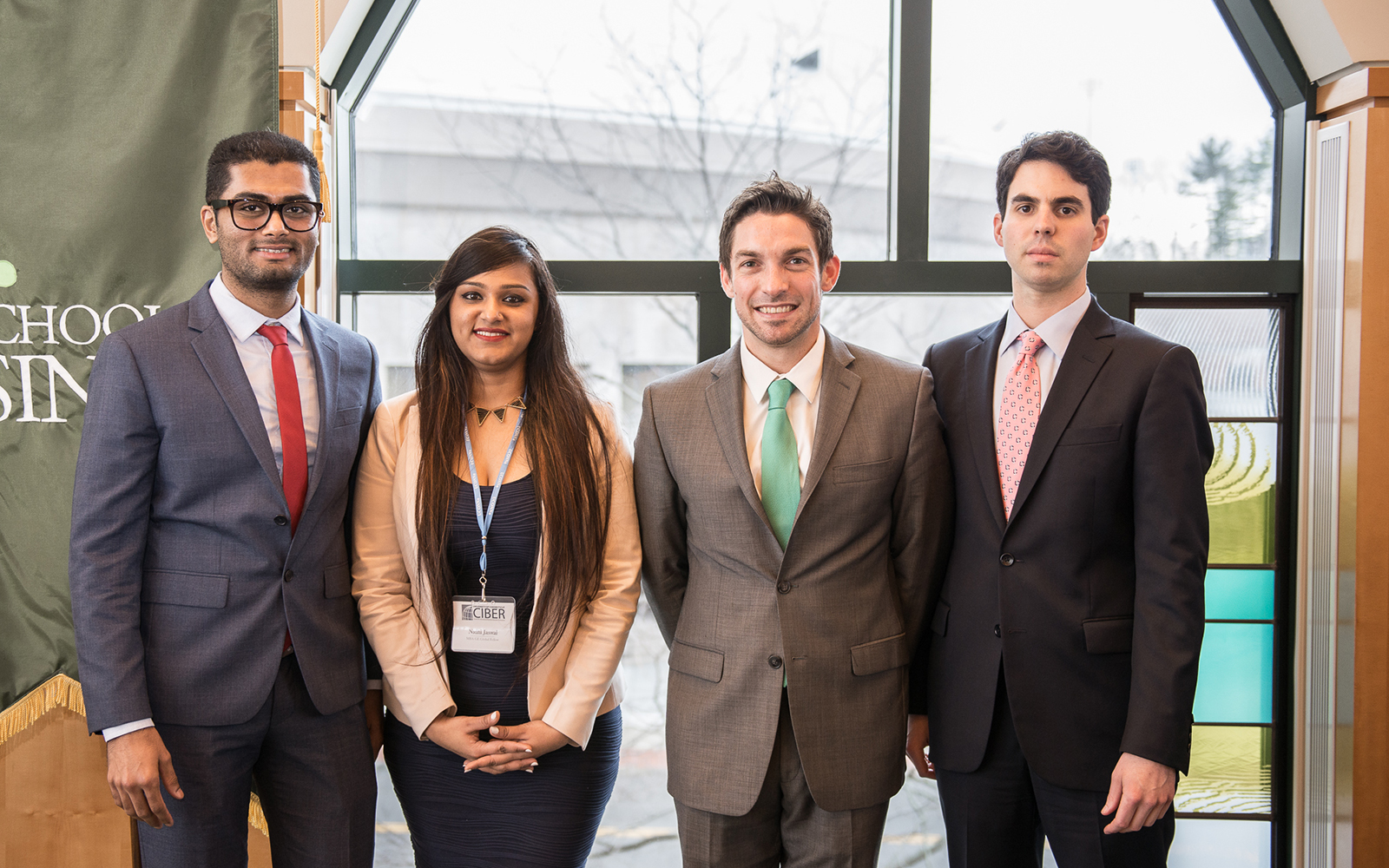 2017 GE Global Fellows Milin Chhanechhara, Nidhi Jaswal, Leonard Borriello, and Michael Ballard (Nathan Oldham/UConn School of Business)