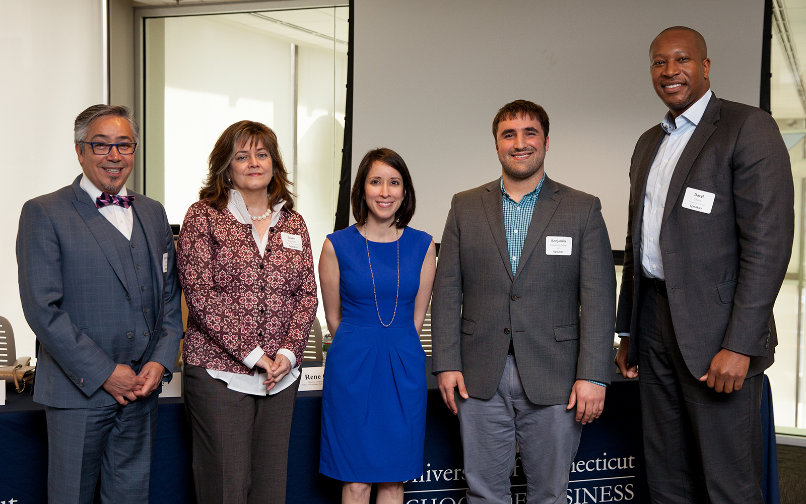 "The April 10 NetImpact program, titled, ""Careers for the Common Good: The Value of Sustainability in Business"" featured panelists Rene O. Deida, Susan Rochford, Sara Bronin, Benjamin Simmons-Telep, and Daryl Shore (Zack Wussow)"