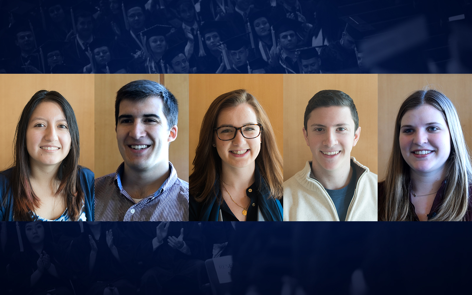 From left: Karla Lazo, Luke LaBranche, Gianna Bodnar, Marc Senatore, and Sarah Lang, Class of 2017 (Nicolle Anderson/UConn School of Business)