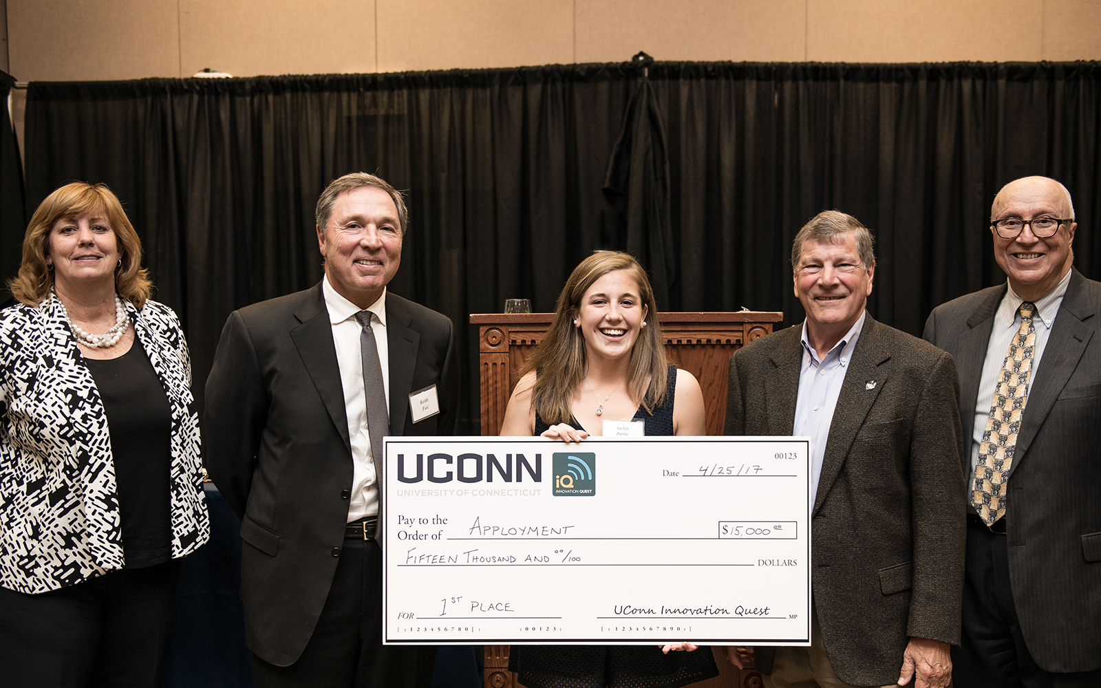 From left: Management Department Head Lucy Gilson, Alumnus Keith Fox '80, Apployment team member Jaclyn Paride, School of Business Dean John Elliott, and Management Professor Rich Dino (Nathan Oldham/UConn School of Business)