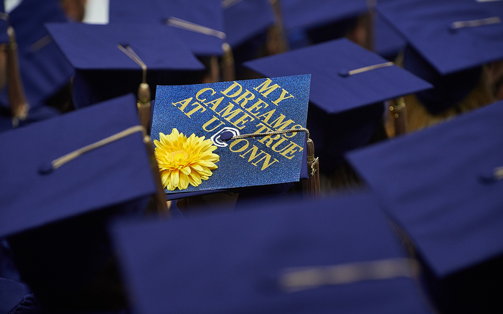 A cap seen during the School of Business Commencement ceremony at Gampel Pavilion on May 7, 2017. (Peter Morenus/UConn Photo)