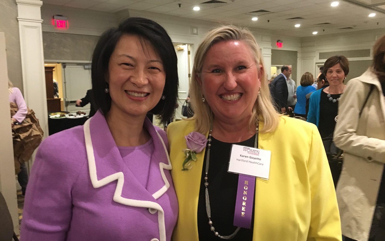 Sulin Ba, associate dean of Academic and Research Support at the UConn School of Business, poses for a photo with Karen Goyette '91, senior vice president of Strategy and System Integration at Hartford Healthcare. Goyette and seven other remarkable women in business were honored during a May 10 ceremony at the Hartford Hilton. (Michael Deotte/UConn School of Business)