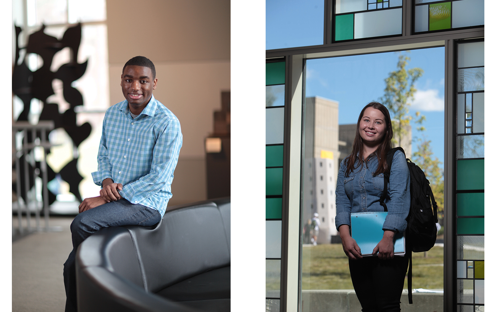 Alumni Quian Callender '16 and Kamila Magiera '16 say scholarships gave them the chance to learn, grow and succeed. (Nathan Oldham/UConn School of Business)