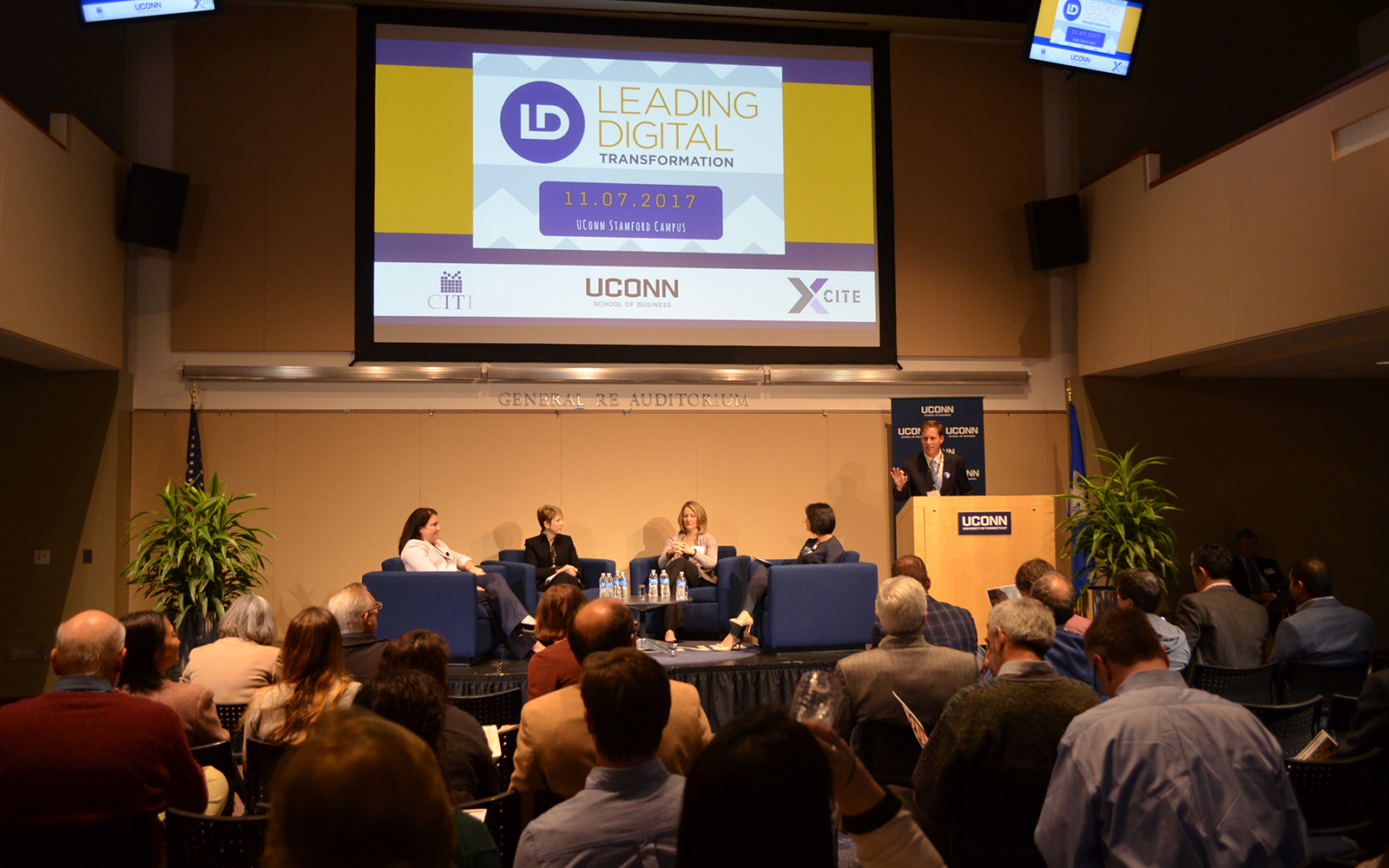 CIO panelists from Synchrony Financial, FactSet, and Stanley Black & Decker talk about Leading Digital Transformation (Katherine Ruiz/UConn School of Business)