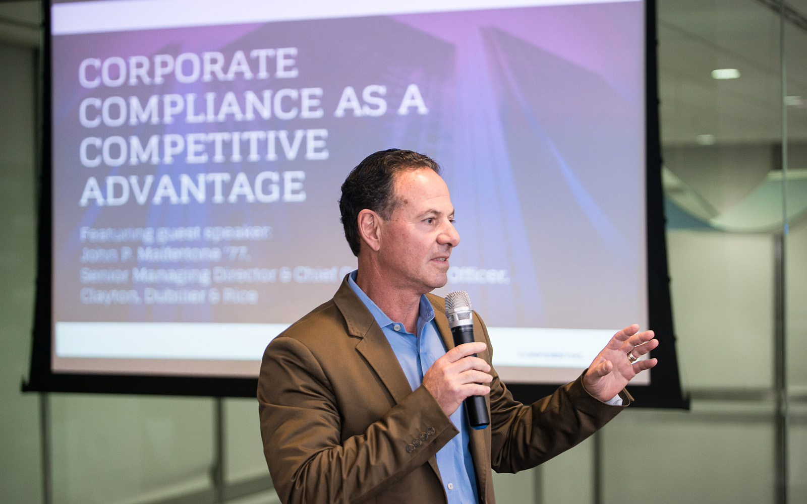 John Malfettone '77 speaks about corporate compliance as a competitive advantage. (Nathan Oldham/UConn School of Business)