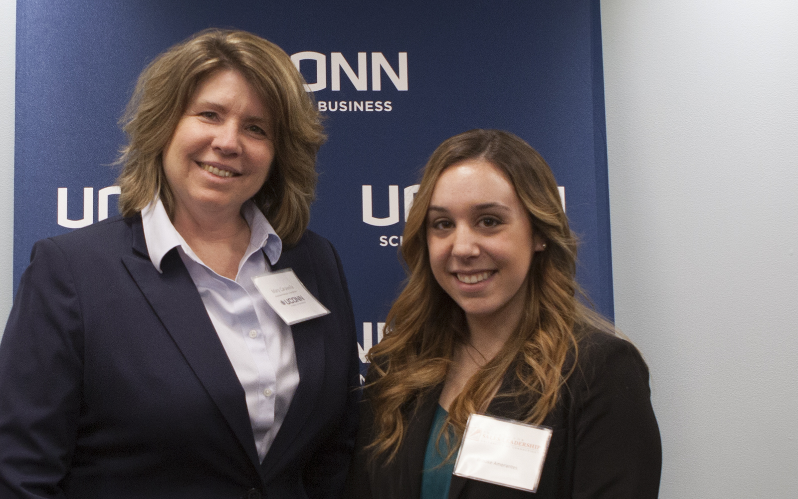 Professor Caravella and I at a Professional Sales Leadership event in March 2015. (Emily Vasington/UConn School of Business)