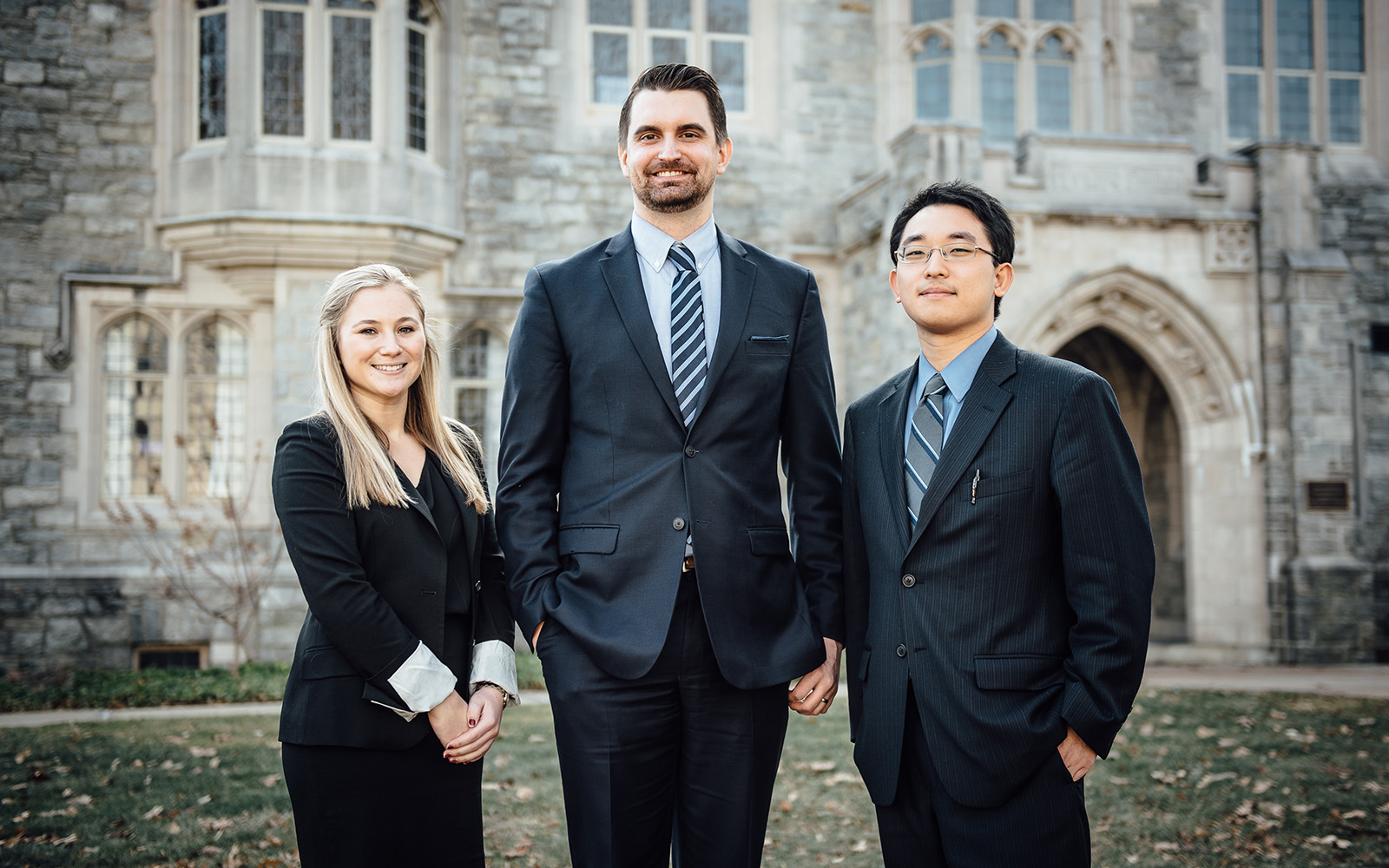 The winning team of the 4th Annual Business/Law Negotiation Competition. From left: Brooke Tinnerello '17, UConn law student, Christopher DiGiacomo '18 MBA, and Steven Lin, UConn law student. (Nathan Oldham/UConn School of Business)