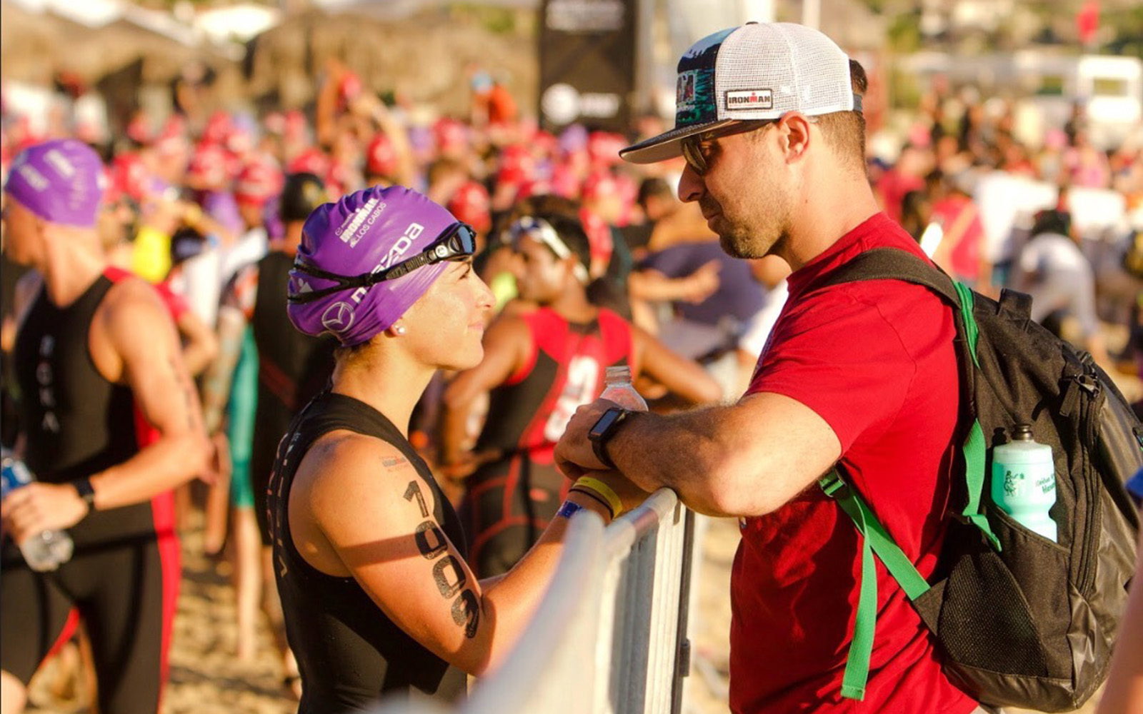 Laura and Ryan talk before the Ironman Los Cabos in November 2017. It was later during this race that Laura did not feel well, which started her journey back to UConn and the KSI. (Photo courtesy of Ryan and Laura Marcoux)