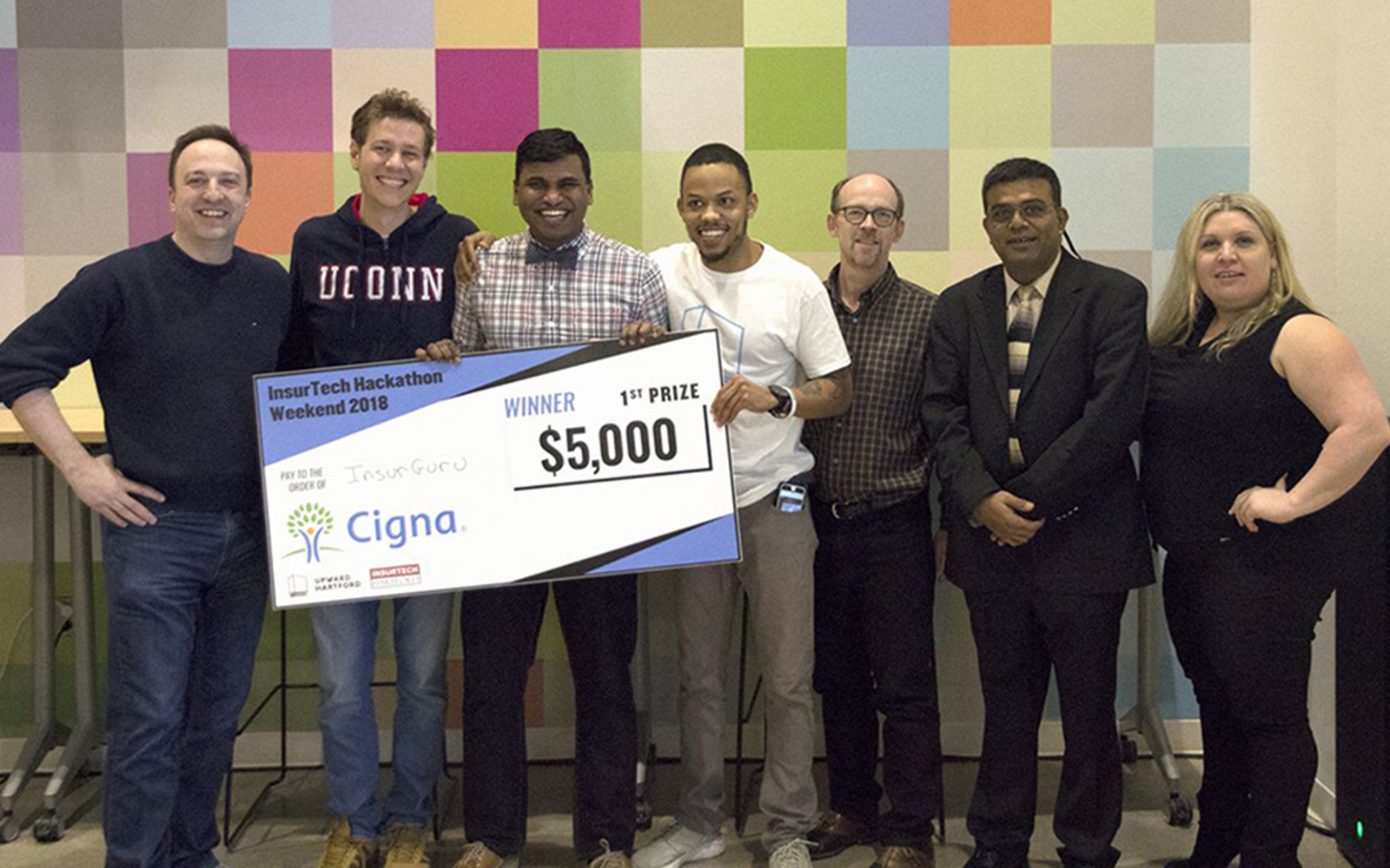 MSBAPM student Jack Caspi and his team who won First Prize in the InsurTech Digital Health Hackathon. (UConn photo)