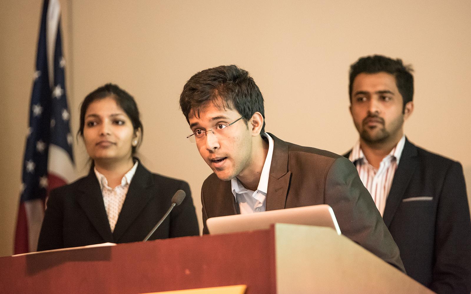 MSBAPM students Karpagam Vinayagam, Anoop Ramathirtha, and Suhas Nadiga, whose team came in third place. (Nathan Oldham/UConn School of Business)
