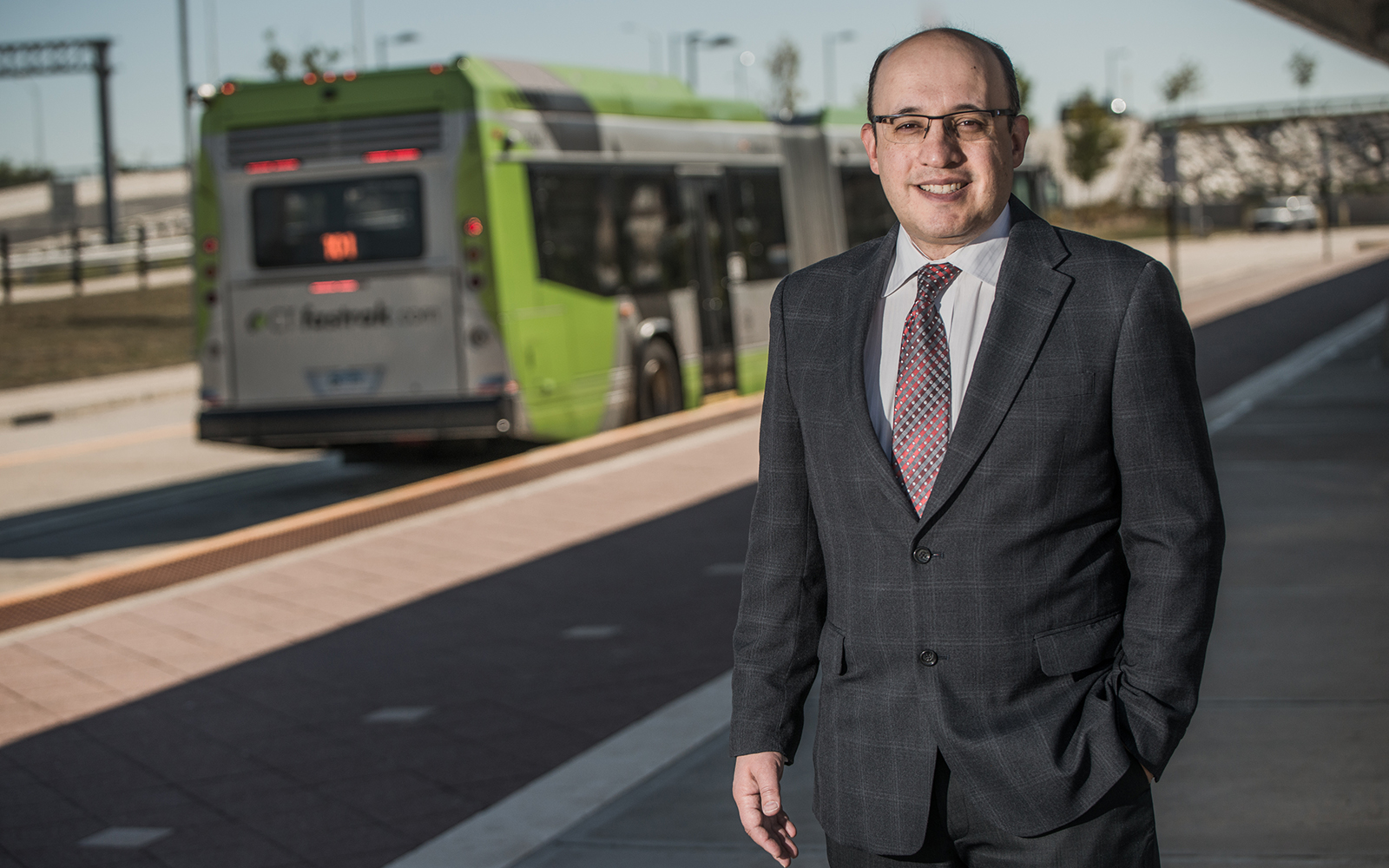 Business professor Jeff Cohen, who has researched the business and real estate impacts of the CTfastrak bus rapid transit service, says the new Hartford Line commuter train will have an impact on land value and job opportunities in cities. (Nathan Oldham/UConn School of Business)