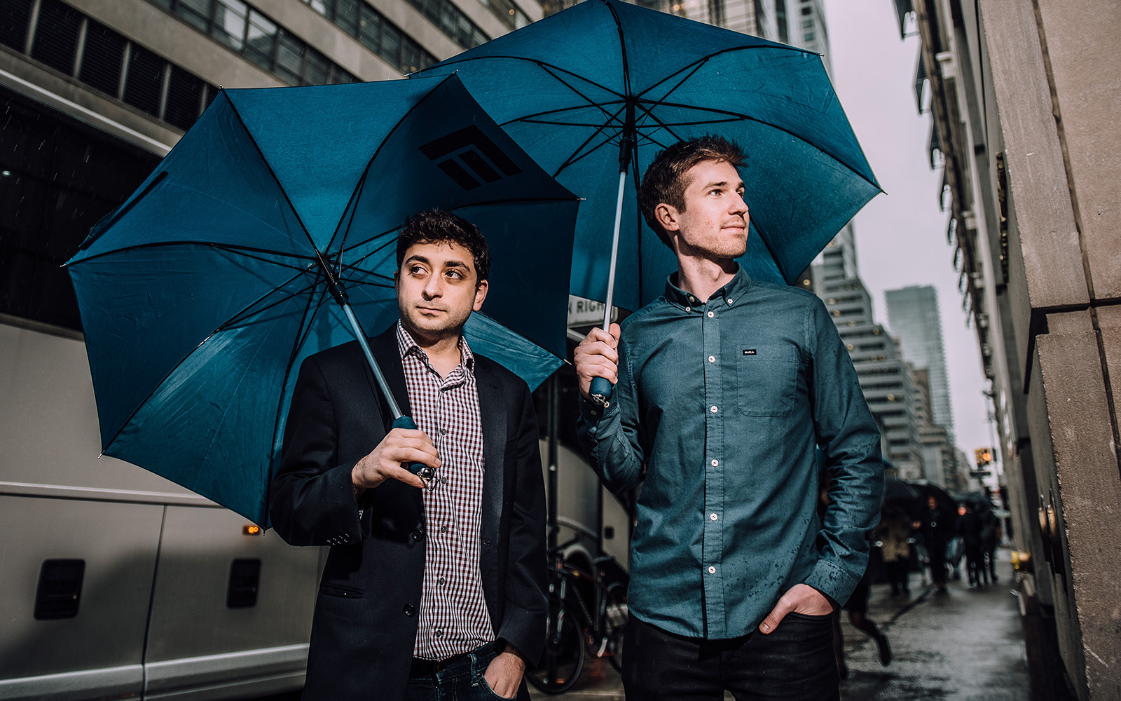 Nadav Ullman '12 (BUS), the CEO, and Thomas Bachant '13 (ENG), co-founder and CTO of Dashride, outside their office on 5th Avenue in New York City. (Nathan Oldham/UConn Photo)