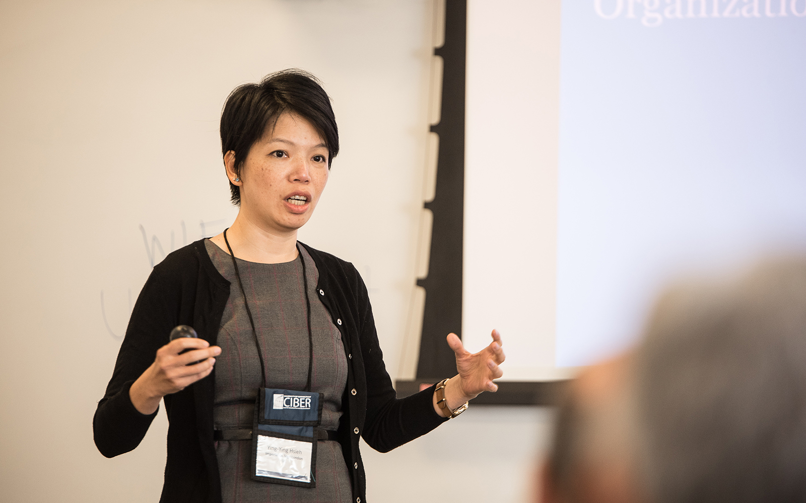Ying-Ying Hsieh, at UConn's Blockchain Technology & Organizations Research Symposium on Aug. 14 in Stamford. (Nathan Oldham/UConn School of Business)