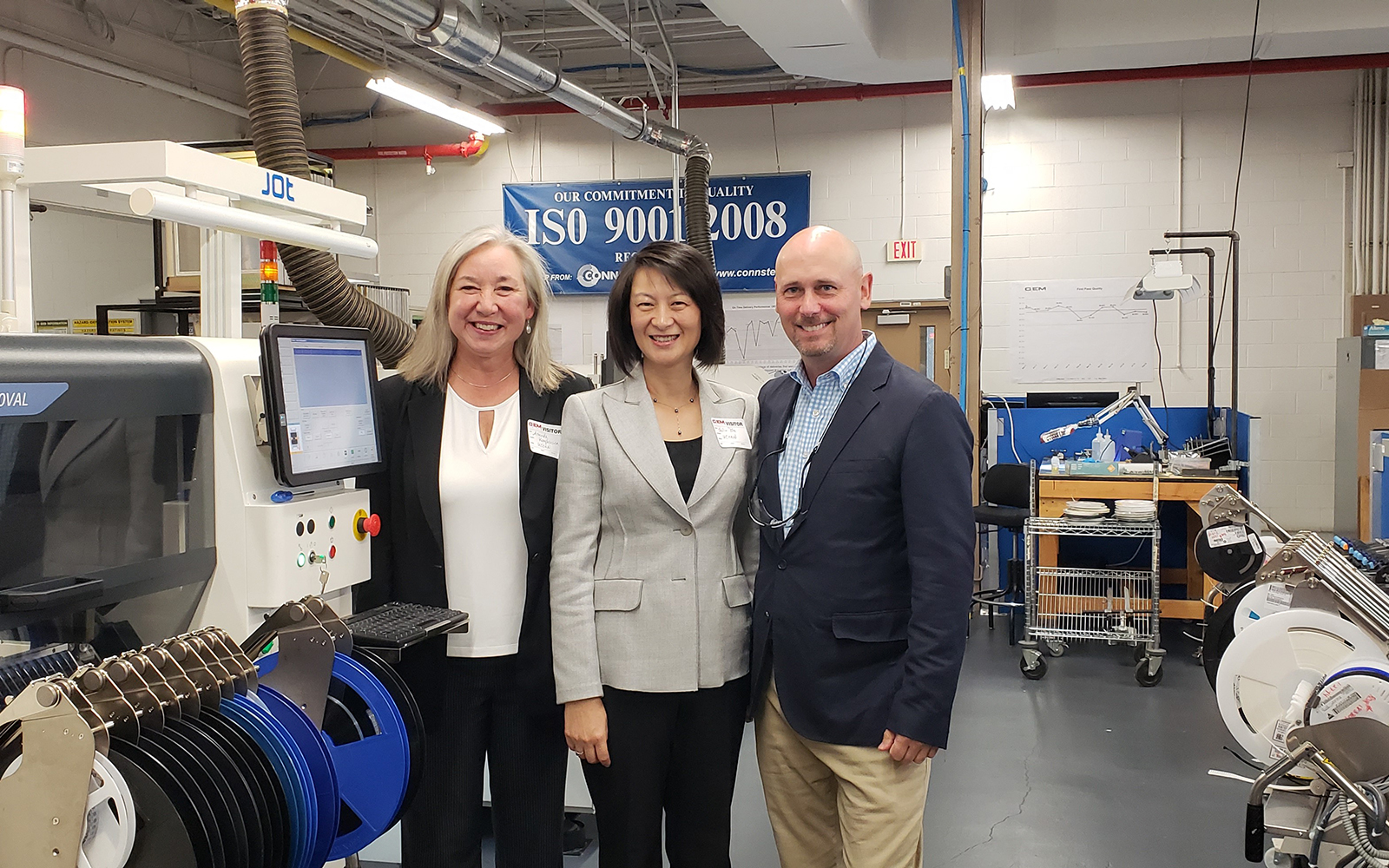 Pictured from left, Arminda Kamphausen, Sulin Ba, and Sam Simons '95 EMBA (Sulin Ba/UConn School of Business)