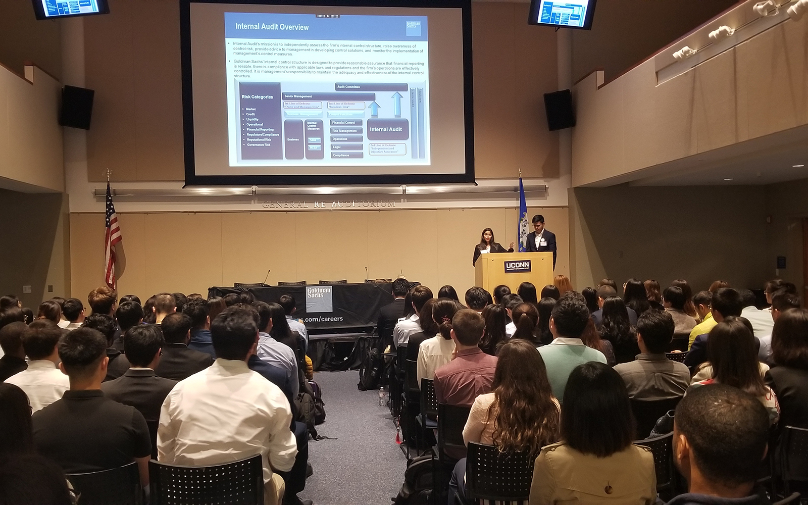 Goldman Sachs VP Anujah Shah and Analyst Prasad Bhadang '18 speak to students thanks to the Stamford Business Career Development Office. (Judy Stewart/UConn School of Business)