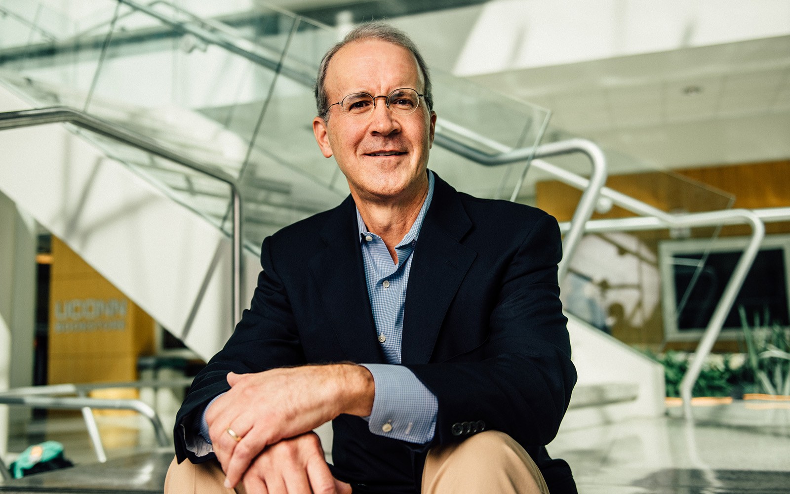 Blake Mather retired after 22 years at Goldman Sachs.  Now, he is an adjunct professor and advisor to the UConn Student Managed Fund in Stamford, giving students the opportunity to gain practical experience in investment strategies. (Nathan Oldham / UConn School of Business)