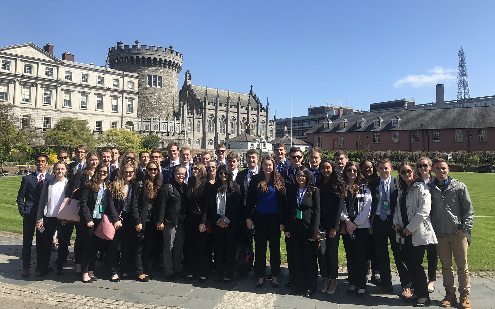 Alumnus Mike Koppel and his family have given a second, generous gift to the School of Business to support international business-immersion travel for students in the BCLC. Pictured above, UConn students stopped for a photo in front of Dublin Castle, after leaving Ireland's Squarespace marketing company during the May 2018 trip. (Courtesy of BCLC)