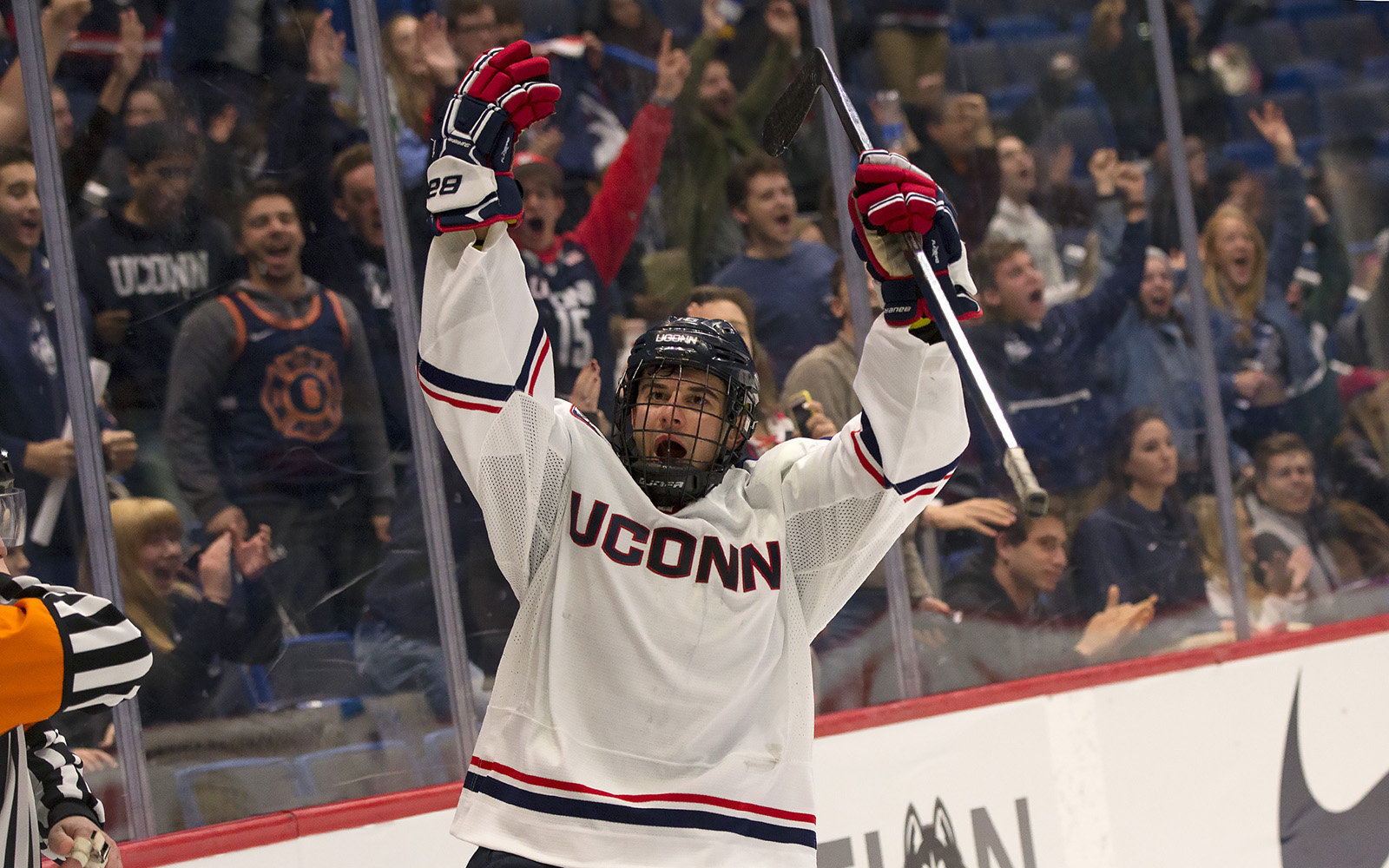 Karl El-Mir '19 follows an intense schedule on and off the ice - and it pays off. (Courtesy UConn Athletics)