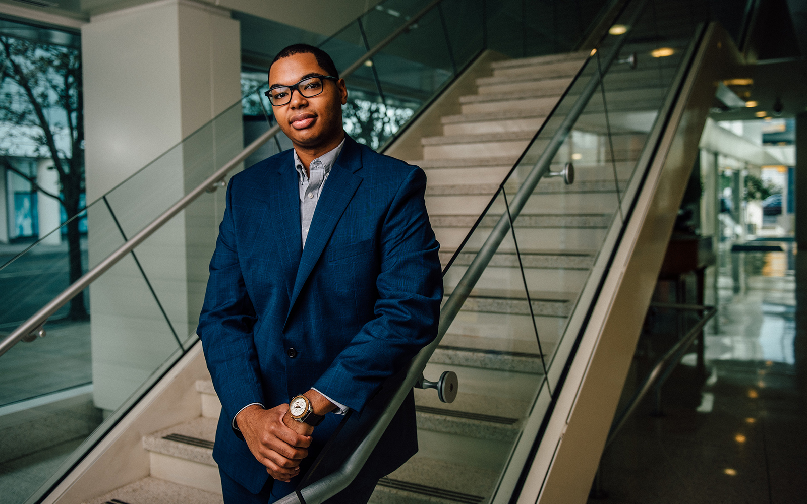 Stamford business major Christian Escotto-Rosado '19 (BUS) is soaking up every experience he can, including an internship at IBM and the chance to take part in the Student Managed Fund. (Nathan Oldham/UConn School of Business)