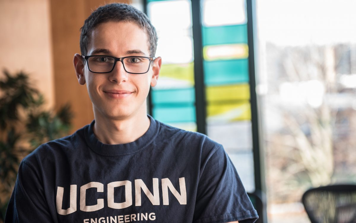 """Junior Daniel Ruskin, one of the winners of the first """"Get Seeded"""" competition, organized by the Connecticut Center for Entrepreneurship and Innovation. (Nathan Oldham / UConn School of Business)"""