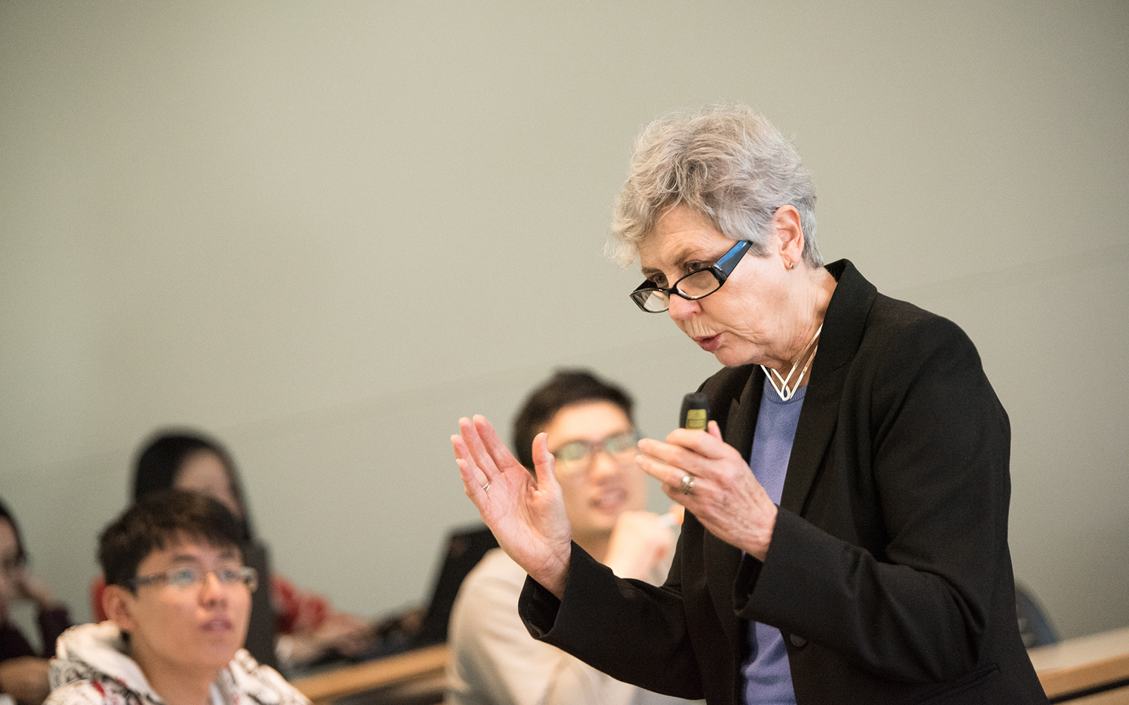 "Susan Spiggle (above), professor emeritus in marketing, delivers a presentation entitled ""Principles of Writing for Clarity"" during the Fall '18 semester. (Nathan Oldham / UConn School of Business)"