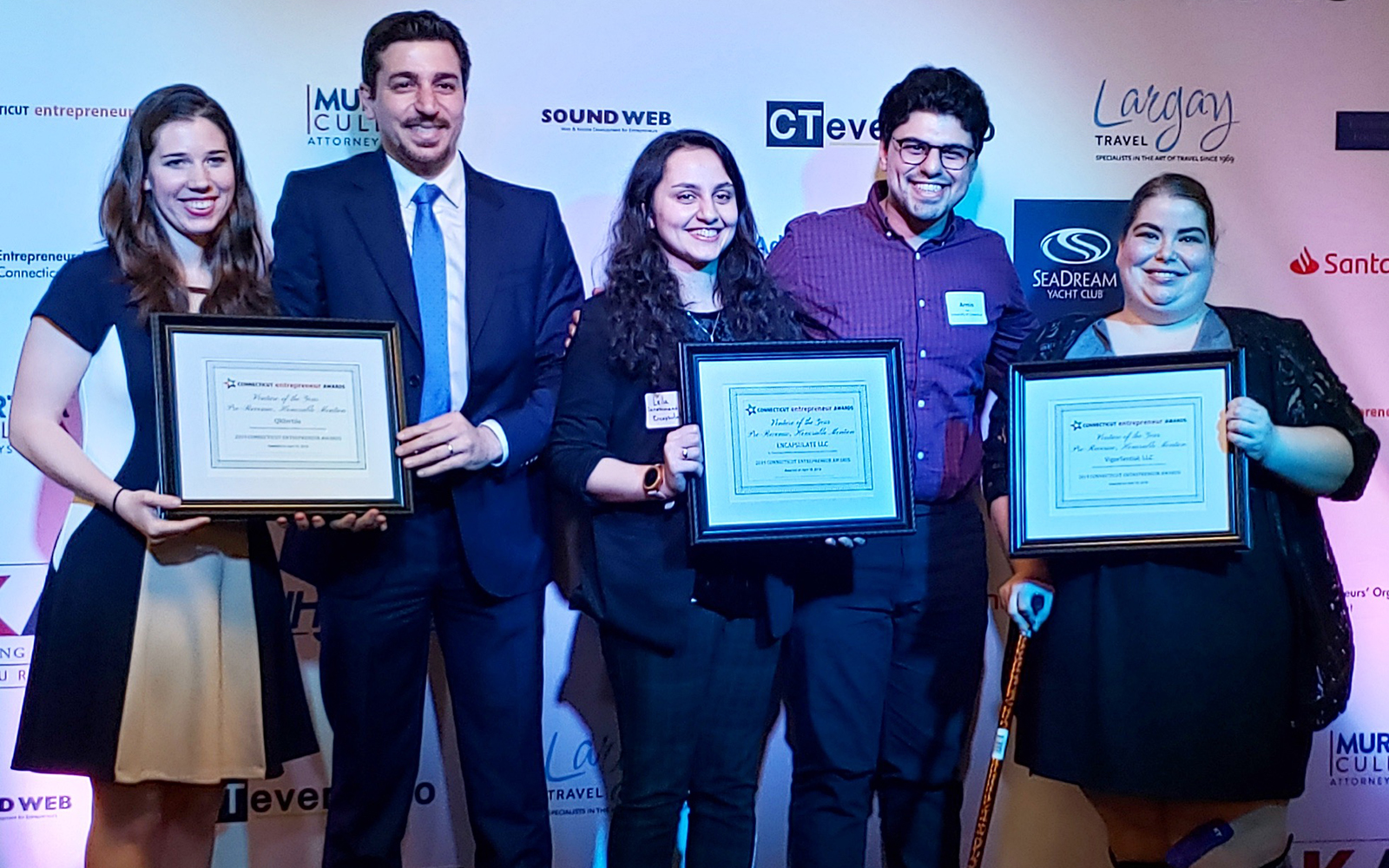 QRFertile, Encapsulate, and VigorSential, all UConn-grown startups, received awards. (Contributed Photo)