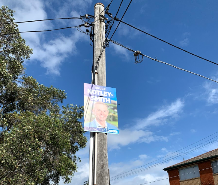 In Australia, campaign signs are posted publicly, and not normally in the yards of supporters. (Victoria Myers / UConn School of Business)