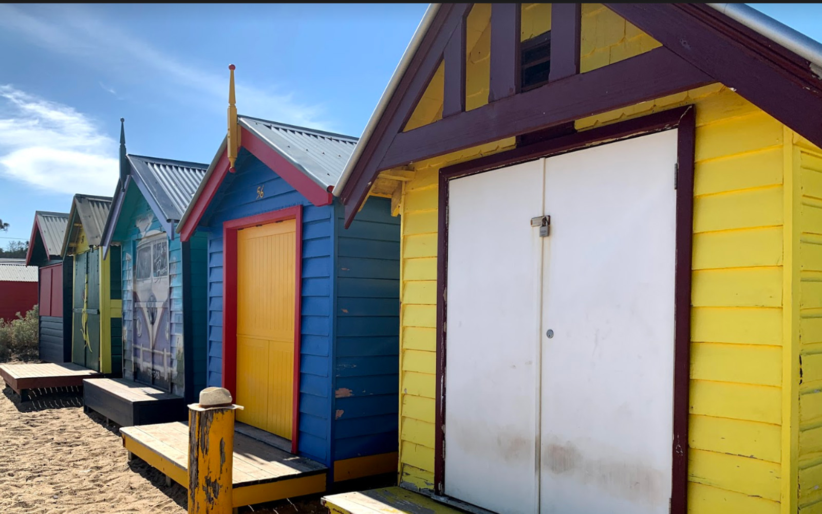 Some of the Brighton Bathing Boxes (Victoria Myers / UConn School of Business)