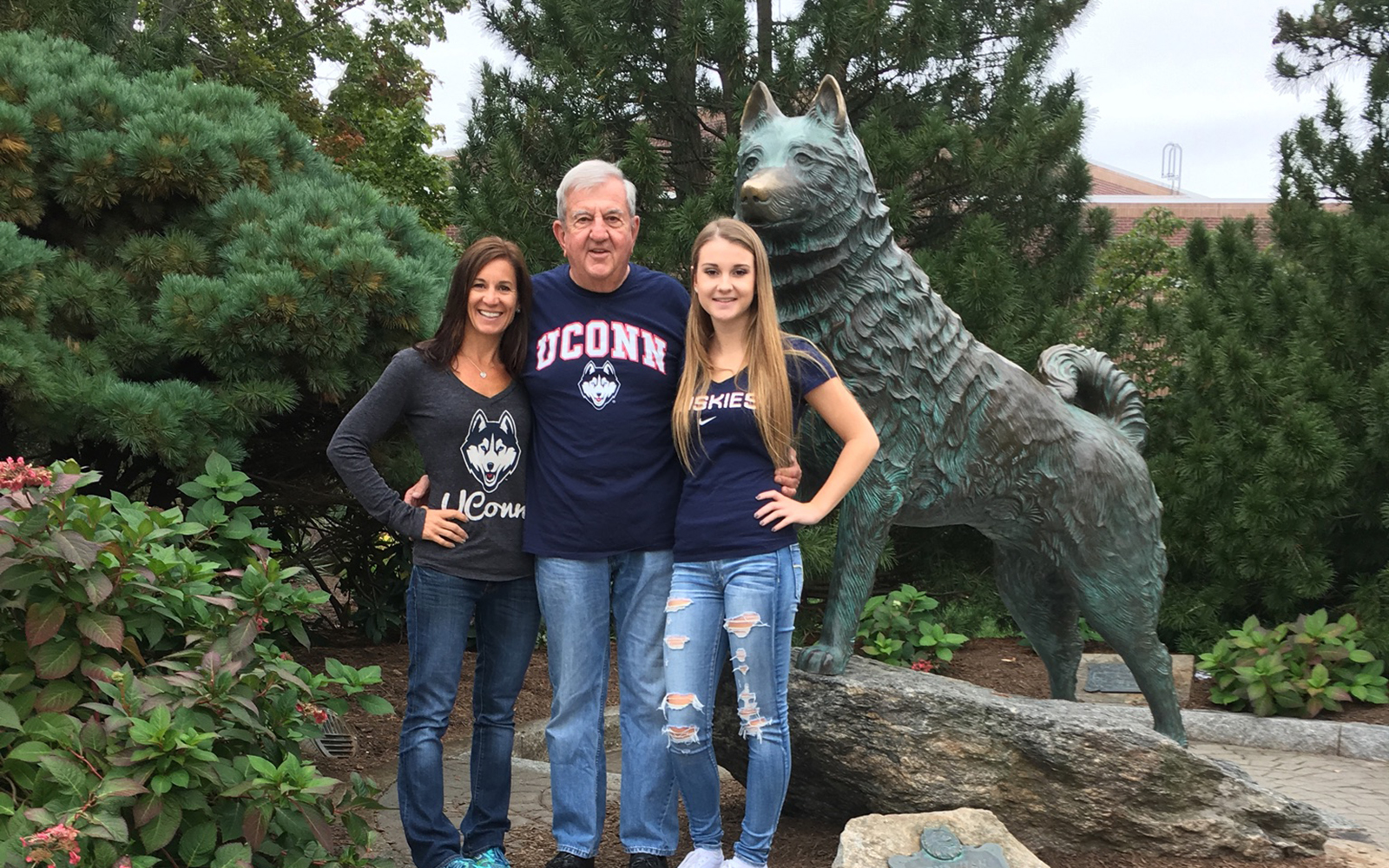 The Fochi family has a long and proud connection to the University of Connecticut because they believe it provides a great education for the money. Pictured above is alumnus Bill Fochi '63 with his daughter, Kerry Fochi Sanders '93, and his granddaughter Ashley Fochi '19. (Contributed photo).