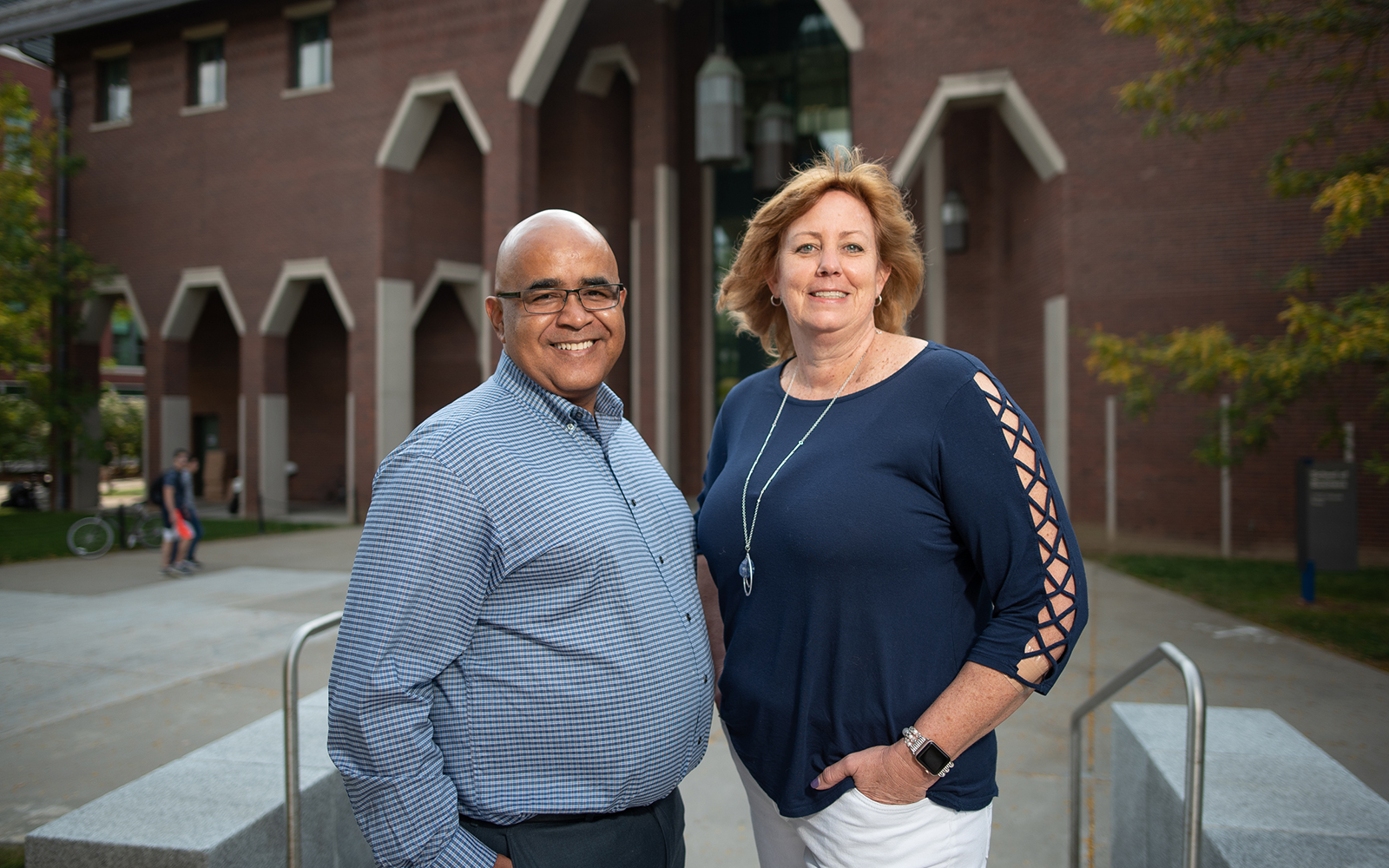 Jose M. Cruz (left) and Lucy Gilson (right) have been named associate deans in the UConn School of Business. Gilson has taken on the mantle of associate dean for faculty and outreach, while Cruz is now the associate dean for graduate programs. (Nathan Oldham / UConn School of Business)