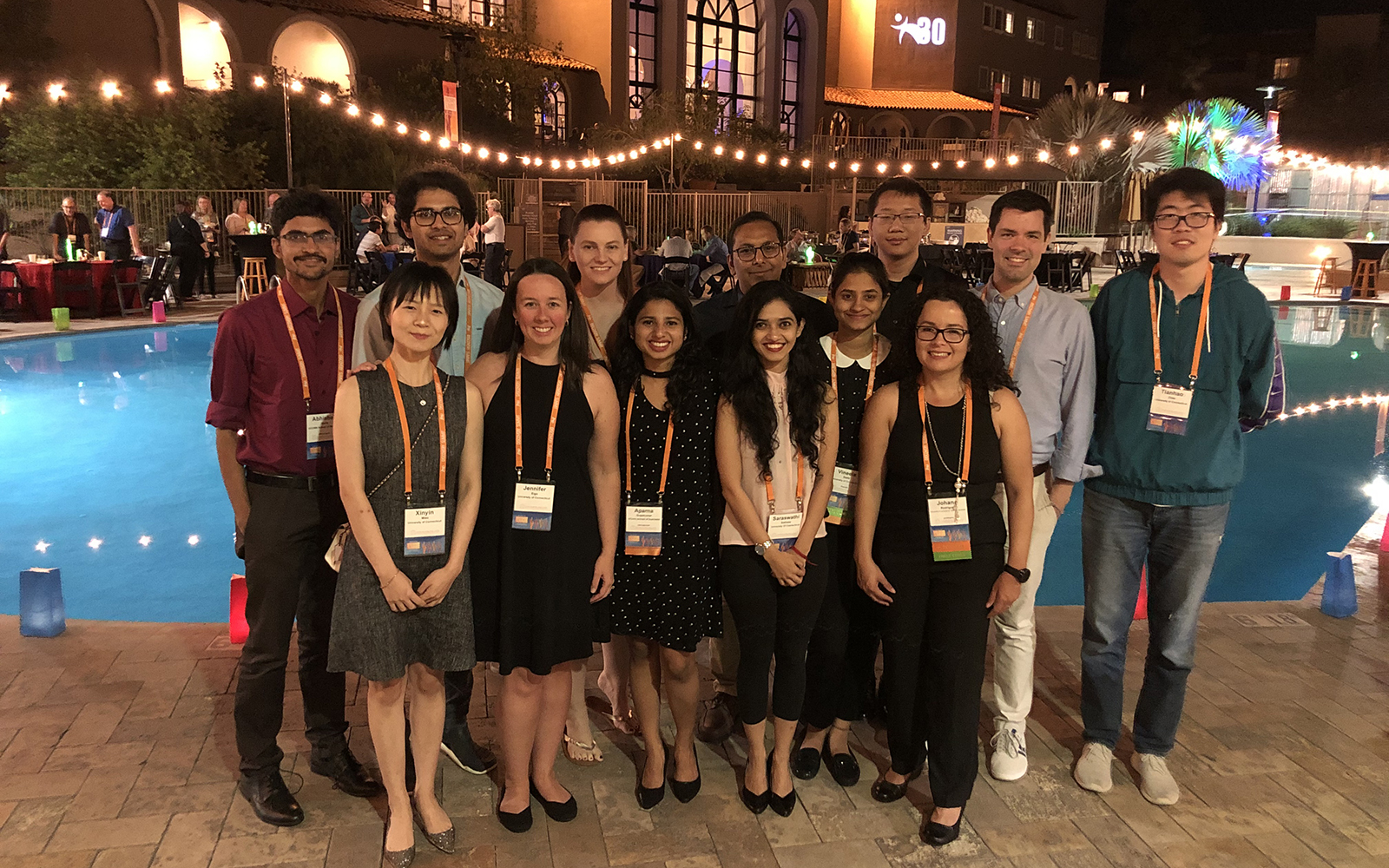 The UConn delegates pose at a reception during the JMP Discovery Summit in Tuscon, AZ. The two UConn teams represented here tied for first place in the contest. (Contributed Photo)